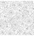 seamless pattern with rose flowers line art vector image vector image