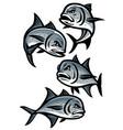 set giant trevally fish cartoon vector image vector image