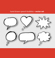 set hand drawn speech bubbles vector image