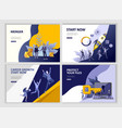 set landing page template people business app vector image vector image