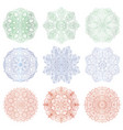set of 9 hand-drawn arabic mandalas vector image vector image