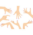 set of beautiful woman hands vector image vector image