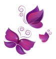set of flying shiny butterflies vector image