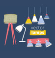 sets lamps and lights floor and table ones vector image