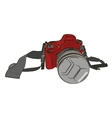 Sketch red camera on a white background vector image vector image
