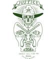 skull sheriff art logo revolver logo vector image
