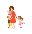 tired mother with crazy hair and her three kids in vector image vector image