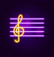 treble clef neon sign vector image vector image