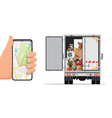 truck with household items smartphone with map vector image