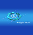 wrapped bitcoin wbtc isometric token symbol vector image vector image