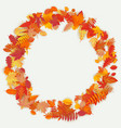 wreath made of autumn flowers and leaves on light vector image