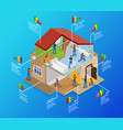 isometric home repair infographic template vector image