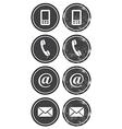 Contact web and internet retro icons set