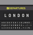 airport flip board font in europe london vector image vector image
