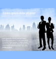 business people over urban background vector image vector image