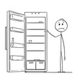 cartoon of hungry man and empty fridge or vector image vector image