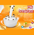 cereal breakfast advertising realistic vector image vector image