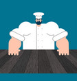 chef and table template for restaurant vector image vector image
