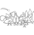 christmas santa group coloring page vector image