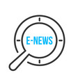 e-news word magnifying glass vector image vector image