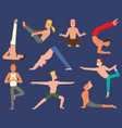 fitness group yoga man doing cobra pose in vector image vector image