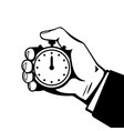 hand with stopwatch black and white vector image