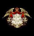 heraldic shield with a crown and royal mantle vector image vector image