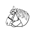 horse head in harness black and white drawing vector image vector image
