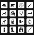 hunting icons set squares vector image vector image