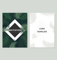 invitation card template design green palm leaves vector image vector image