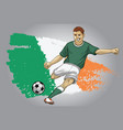 ireland soccer player with flag as a background vector image vector image