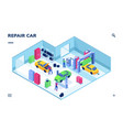 isometric indoor view on car service auto repair vector image