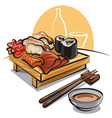 japan cuisine - sushi set and sauce vector image vector image