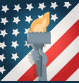 liberty statue hand holding torch over united vector image