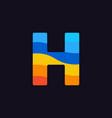 logo letter h colorful blue red orange vector image