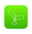 medical marijuana pill icon green vector image vector image