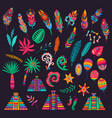 mexican feathers bones palms pyramids peppers vector image vector image
