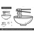 Noodle soup line icon vector image vector image