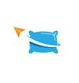 origami paper aircraft pillow creative design logo vector image vector image