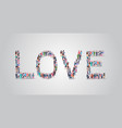 people crowd gathering in shape love word vector image
