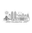 philadelphia minimal style city outline skyline vector image