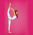 pop art girl doing gymnastics or yoga vector image vector image