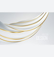 realistic white and gold swirl shape isolated vector image