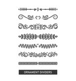 set black various ornament divider decoration vector image