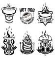 set emblems with hot dog design element vector image