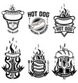 set of emblems with hot dog design element for vector image