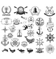 Set of the nautical labels emblems and design vector image