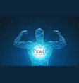 strong man big biceps formed with swirl vector image vector image