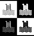 swimming pool sign black and white icons vector image vector image