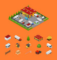 warehouse and elements concept 3d isometric view vector image vector image